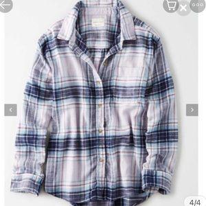 AE Ahh-mazingly Soft Boyfriend Plaid Shirt - Lilac
